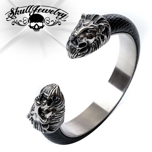 'Lion Heart' Leather Lion Bangle Bracelet