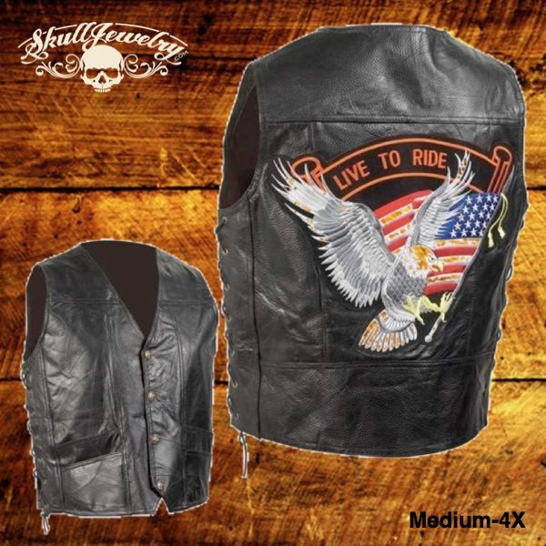 Hand-Sewn Pebble Grain Genuine Leather Biker Vest w/American Flag Patch