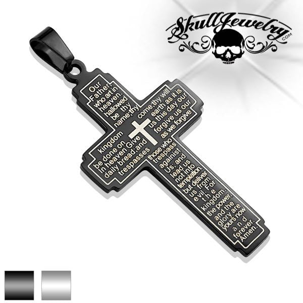 'Lords Prayer' Pendant Black or Steel Color