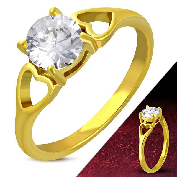 Gold Color Plated Stainless Steel Prong-Set Love Heart Shank Engagement Ring W/ Clear CZ