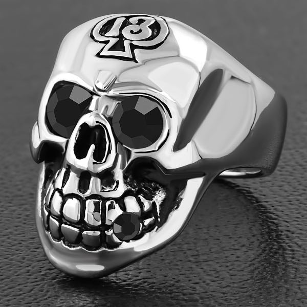 Lucky 13 Skull Ring w/Jet Black Stones (c209)