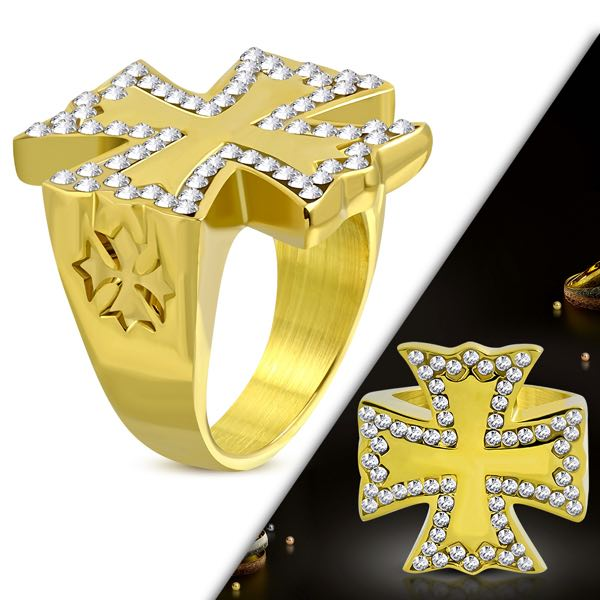 Maltese Cross Ring W/ Clear CZ