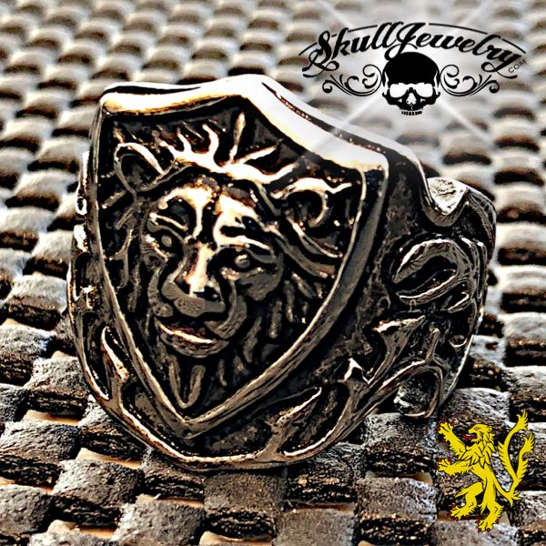 Medieval 'Lion Crest' Stainless Steel Lion Ring