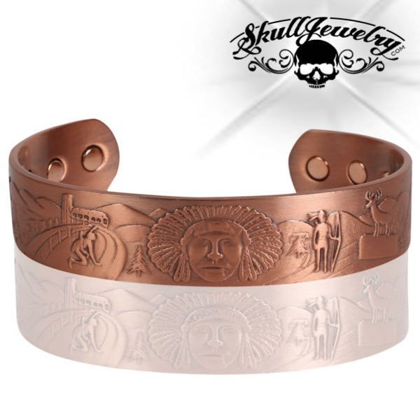 'Mohawk Trail' Solid Copper Cuff Bracelet w/Magnets (copper009)