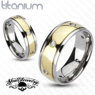 Multi-CZs with Gold IP Center Dome Band Ring Solid Titanium