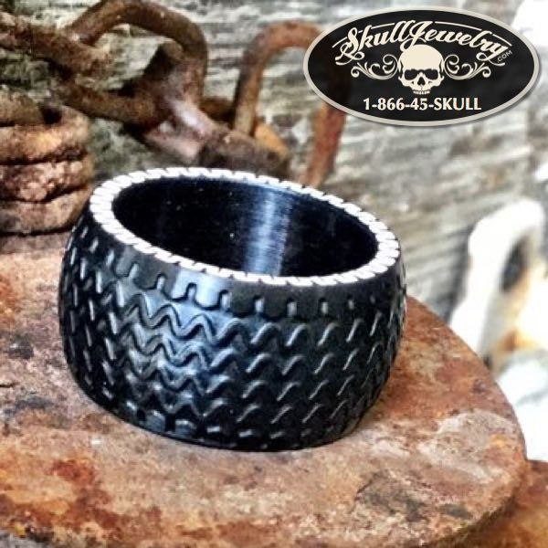 'Good Times Roll' Black Stainless Tire Ring