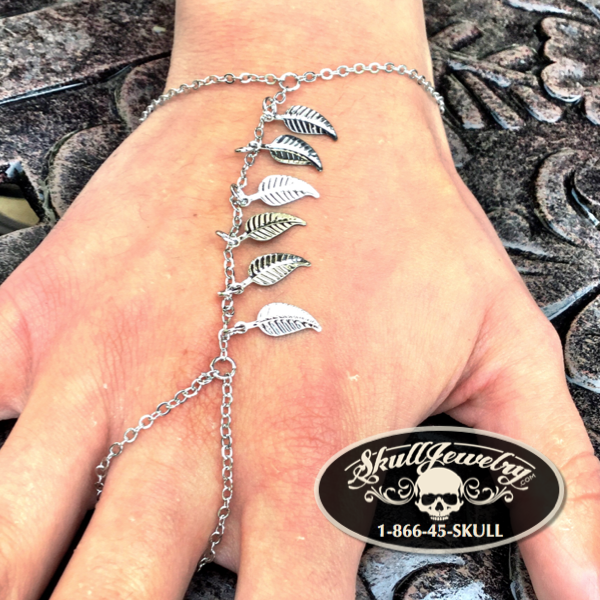 'Over the Hills and Far Away' Leaf Charms Slave Chain Bracelet