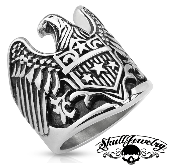 Patriotic Eagle with Shield Stainless Steel Ring