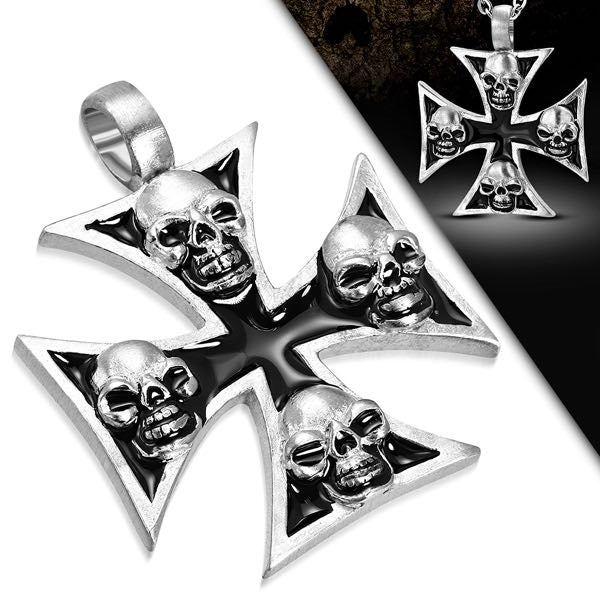 Pewter 2-Tone Four Skull Pattee Cross Biker Pendant