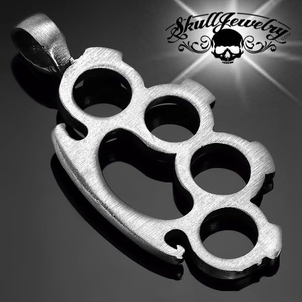 Pewter 2-Tone Knuckle Duster Biker Pendant