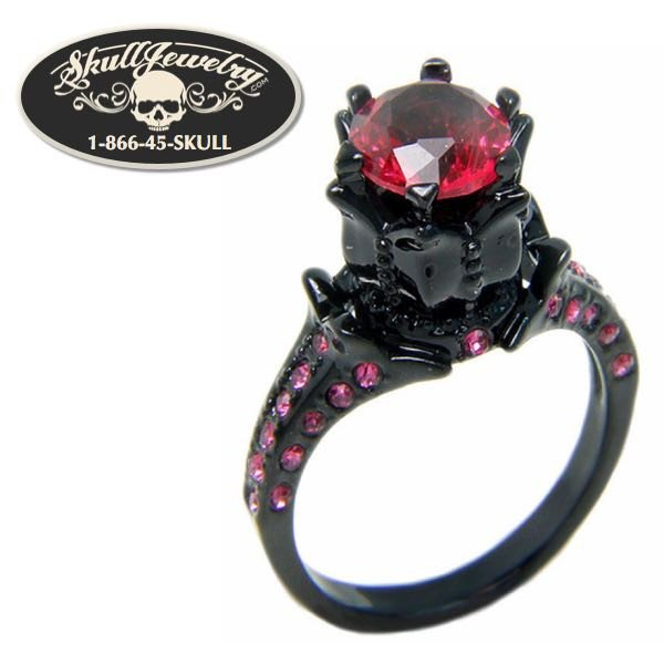 'Pink Sapphire' 18KT Black Gold Filled Engagement Wedding Ring