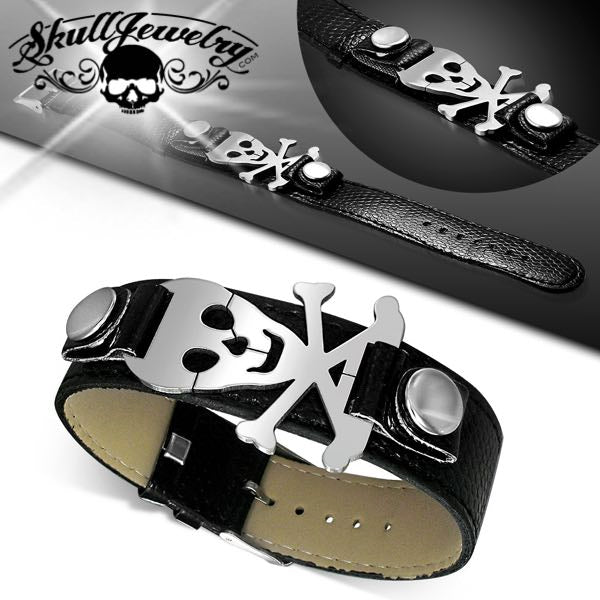 Pirate Skull Crossbones Watch-Style Bracelet