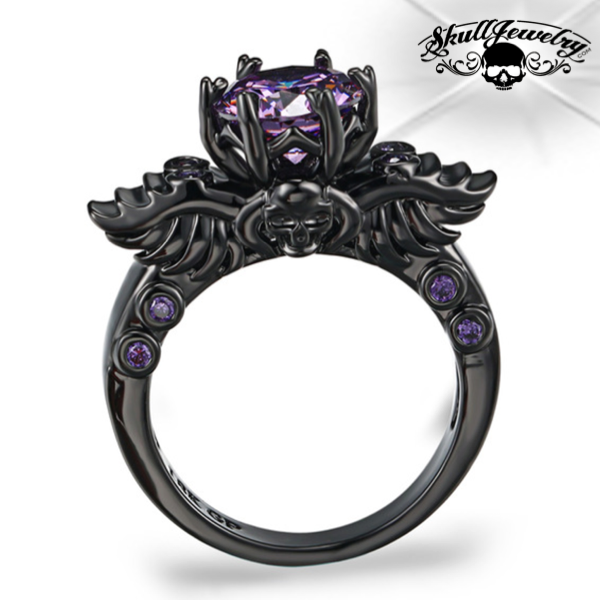 'Princesa Violeta' Winged Skull 14K Black Gold & Violet Crystal Ring (w023)