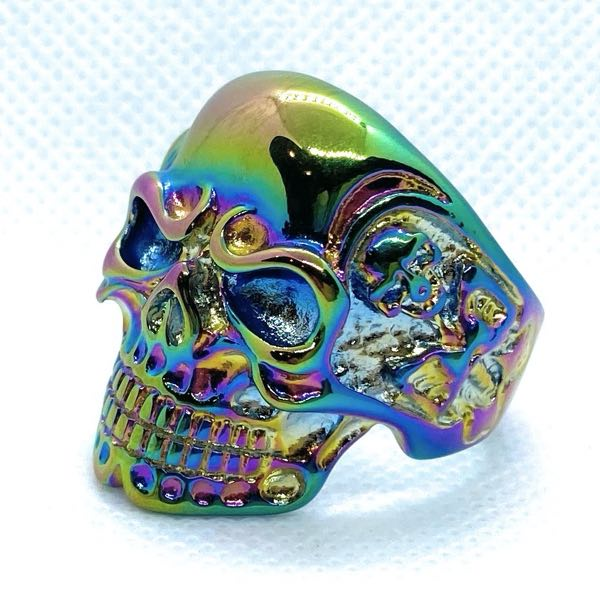 'Psychedelic' Heavy Biker Skull Ring With Side Skeletons (010Psychedelic)