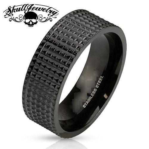 Pyramid Spikes Black Band Ring Stainless Steel