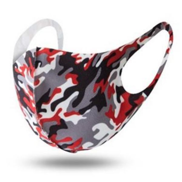 Red Camouflage Washable Face Mask