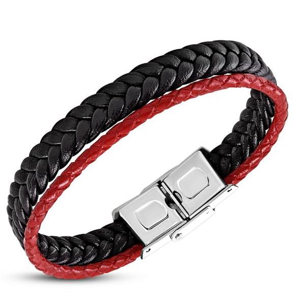 Red & Black Braided Leather Bracelet
