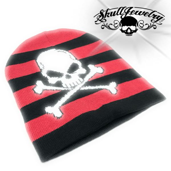 Red/Black Striped Skull Beanie