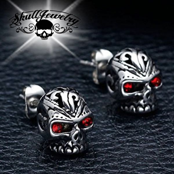 'Red Eyes' Skull Earring (e029)