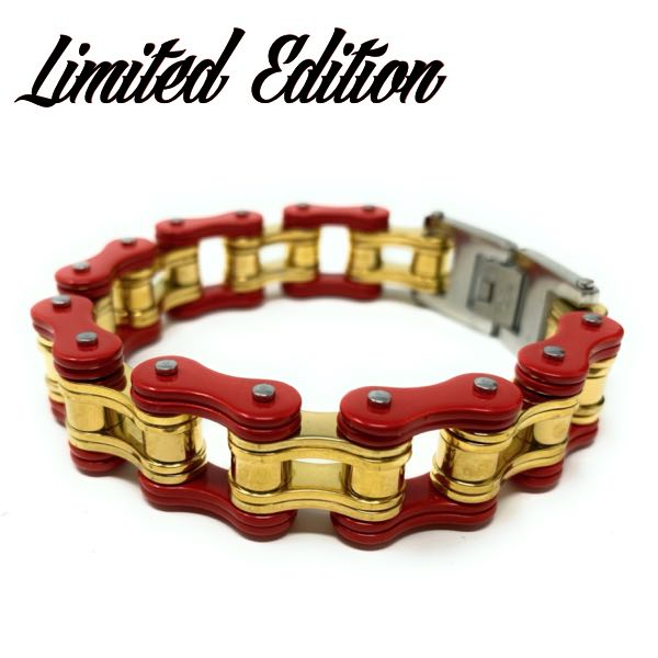 Red/Gold Motorcycle Chain Bracelet (c110)
