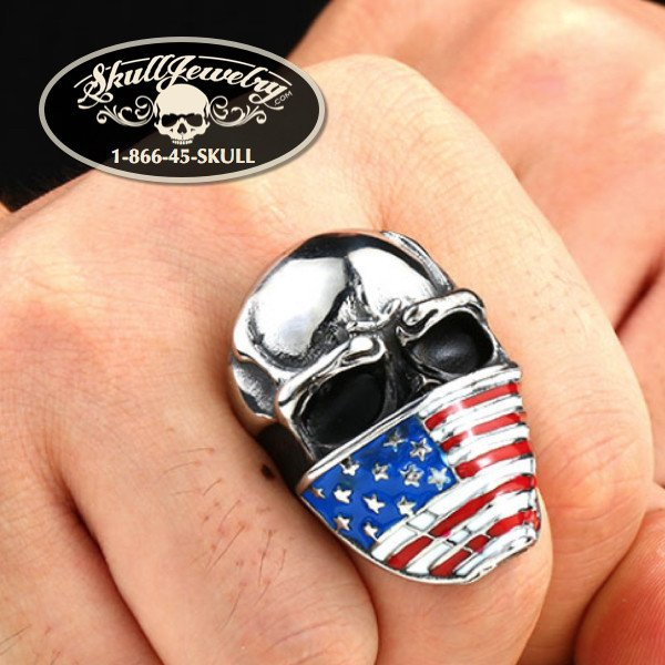 Red, White & Blue American Infidel Skull Ring