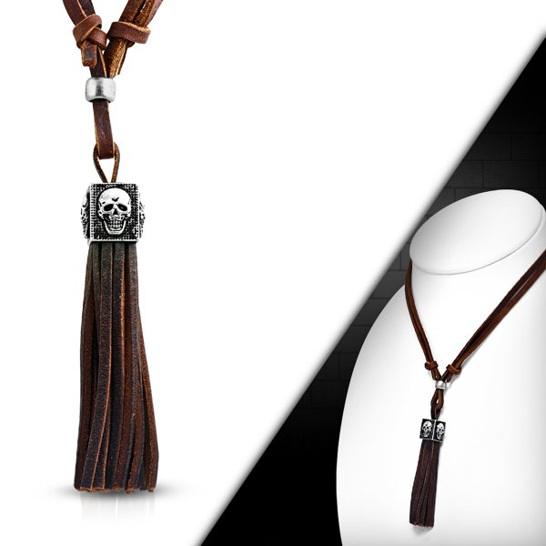 'Reflective Skull' Tassel Necklace