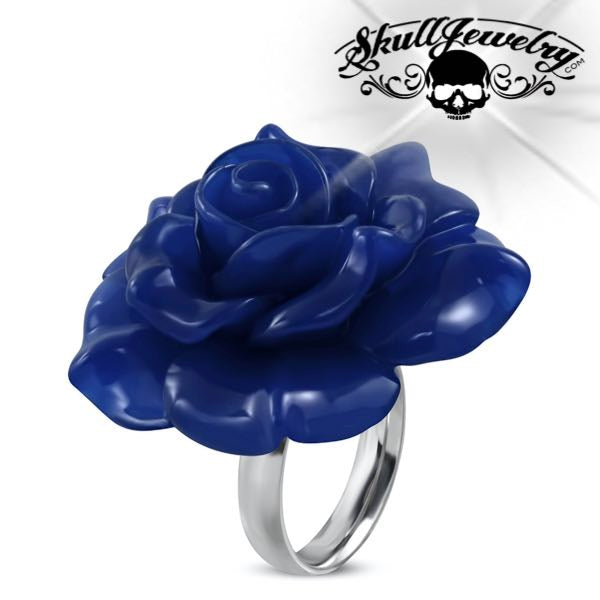 'Royal Blue' Flower Ring (c083)