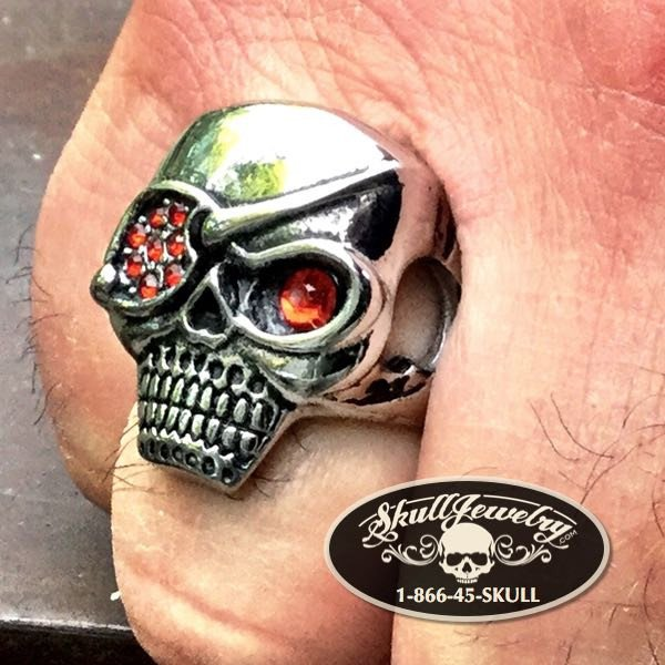 'Ruby Eye Patch' Skull Biker Ring