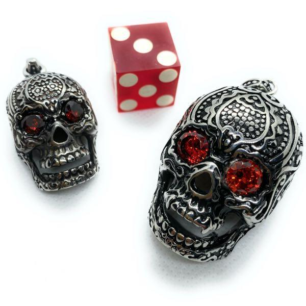 'Seeing Red' Skull Pendant w Red Eyes