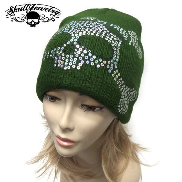 Sequin Skull Cap - green