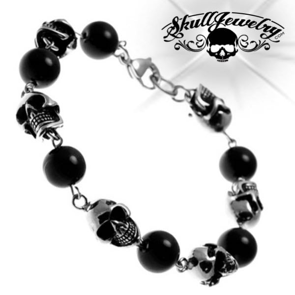 Skull Bracelet w/ Alternating Black PVD Beads (c200)