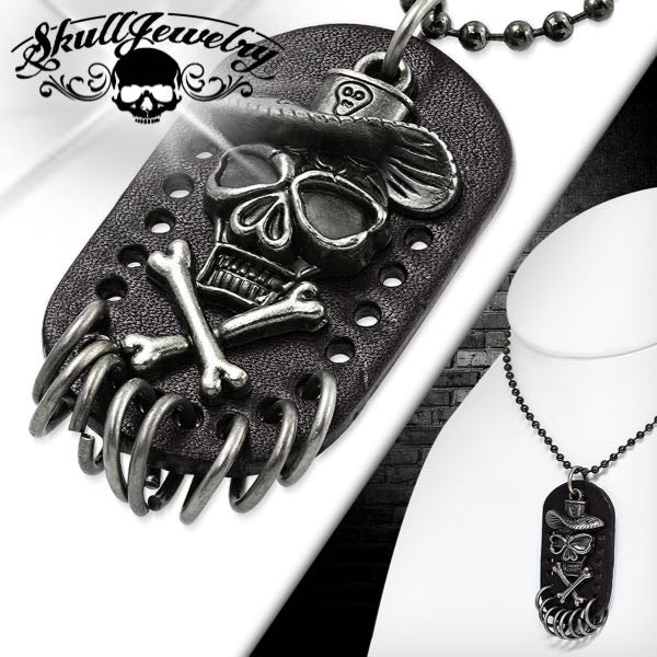 Skull Cowboy Leather Necklace w/24