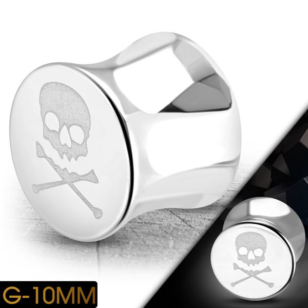 Skull & Crossbones Double Flared Screw Fit Ear Plug Flesh Stretcher Tunnel Expander (e051)