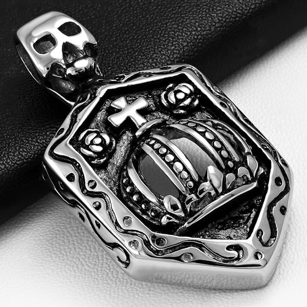 Skull Crown Shield Rose Pendant