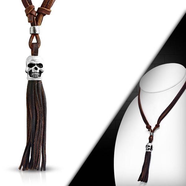 Skull Head Brown leather Tassel Adjustable Necklace