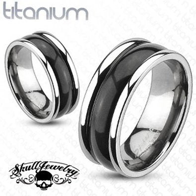 Solid Titanium, Bubble Dome 2-Tone Black Band Ring