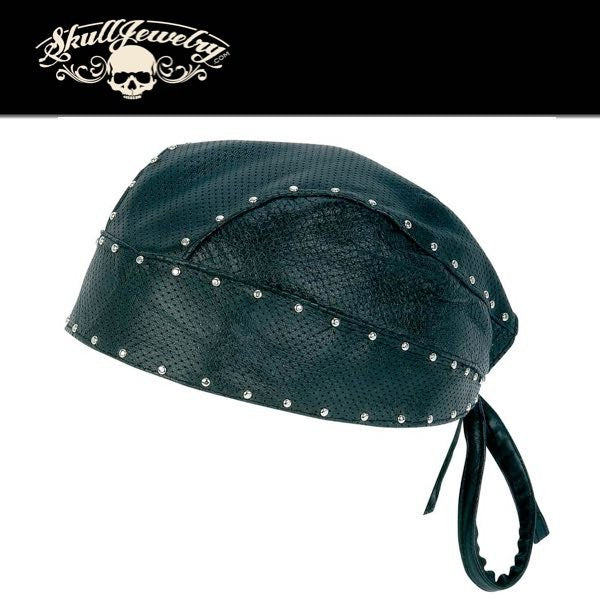 Solid Genuine Leather Perforated Skull Cap with Chrome Studs