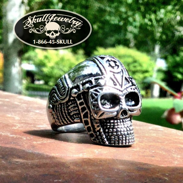 Space Cowboy' Big, Bold & Heavy Skull Ring with intricate detail