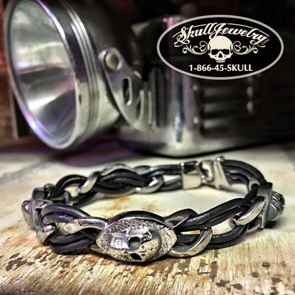 Steel Leather Skull Bracelet