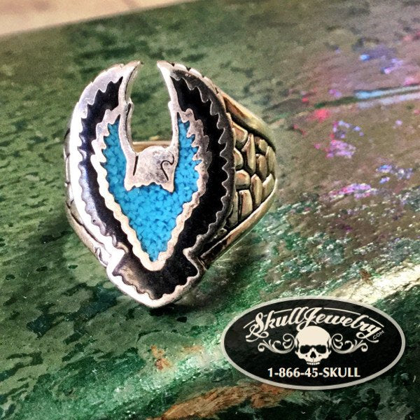 Sterling Silver Turquoise Eagle Ring