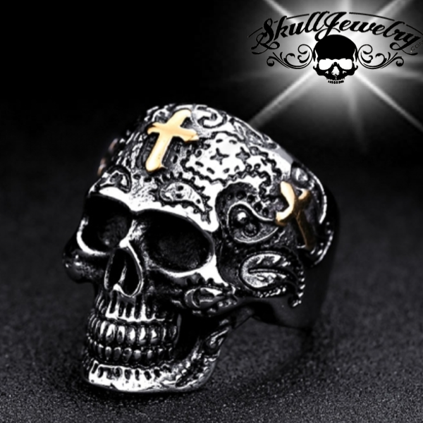 gold cross skull ring