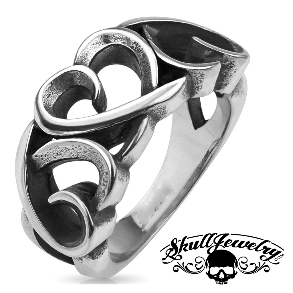 Three Hollow Hearts Stainless Steel Ring (481)