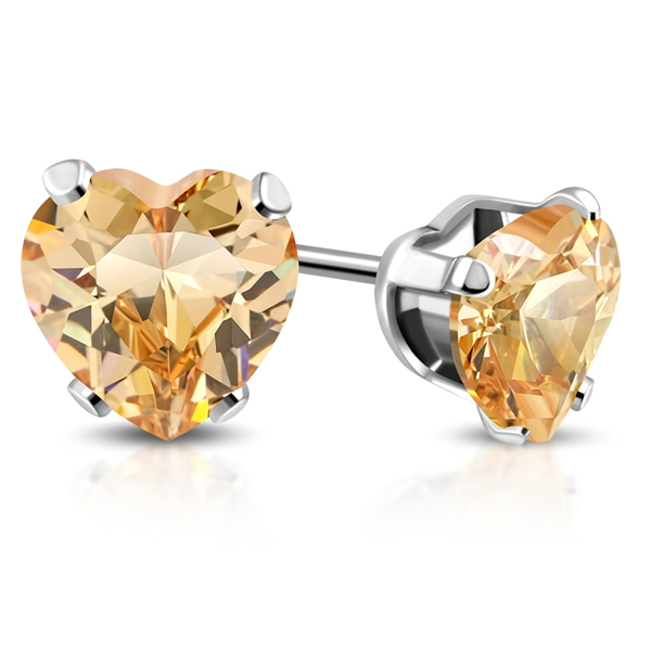 Topaz Birthstone Heart Swarovski Crystal Stud Earrings