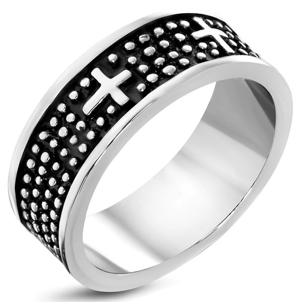 Triple Cross Band Stud Ring