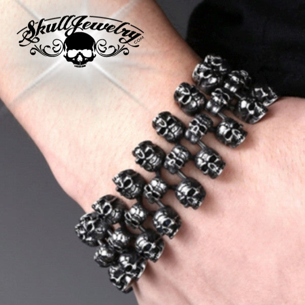 'Triple Threat' Big, Bold & Heavy Skull Bracelet (836)
