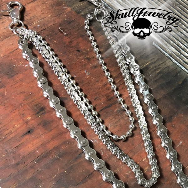 'Triple Threat' Steel Skull Wallet Chain