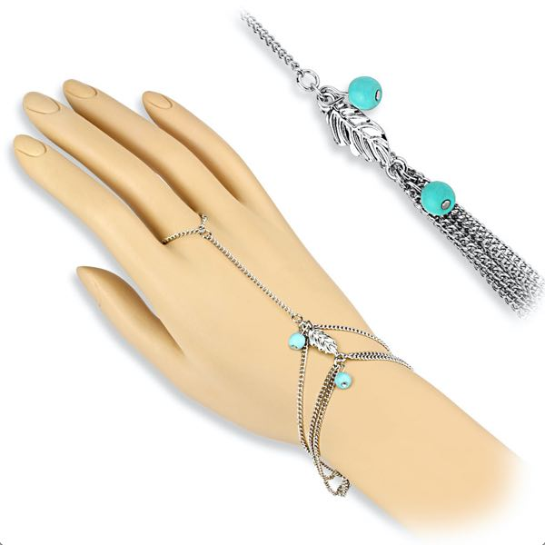 Turquoise Beads and Leaf Charm Slave Chain Bracelet