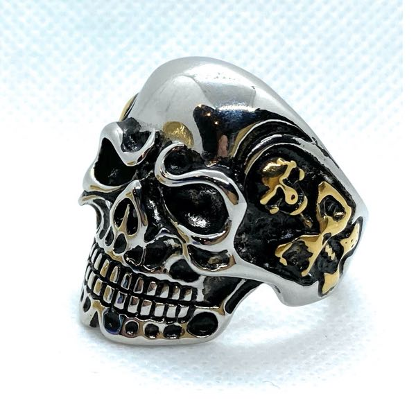 'Two-Tone' Heavy Biker Skull Ring With Side Skeletons (010TWOTONE)
