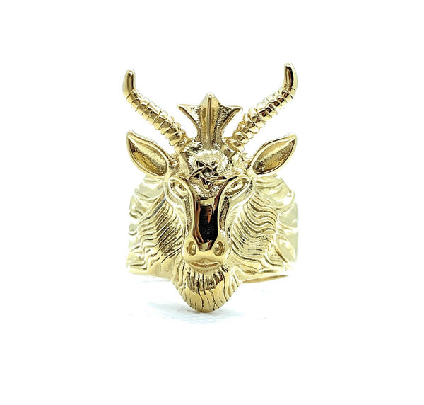 Goat Head With Horns Biker Ring (268Gold)