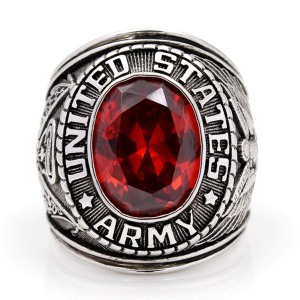 'United States Army' Red Stone Ring
